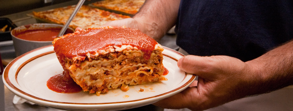 Home made lasagna and pasta meals at Cumberland House of Pizza